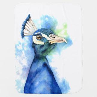 Manta De Bebe Pintura da aguarela do pavão