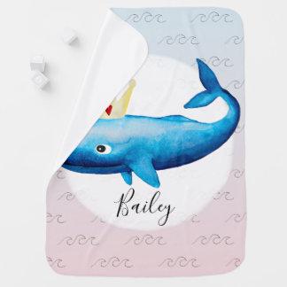 Manta De Bebe Princesa Baleia Oceano Nome da aguarela do Ombre