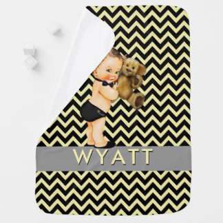 Manta De Bebe Príncipe preto & amarelo Personalized Berçário de