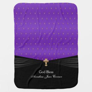 Manta De Bebe Roxo das cruzes   do ouro do baptismo   do batismo