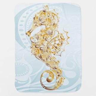 Manta De Bebe Sob o cavalo marinho do ouro do mar - cobertura do