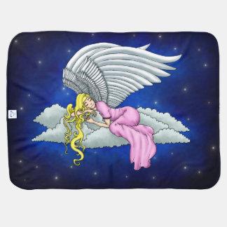Manta De Bebe Sonhado anjos em vestido rosa em nuvem