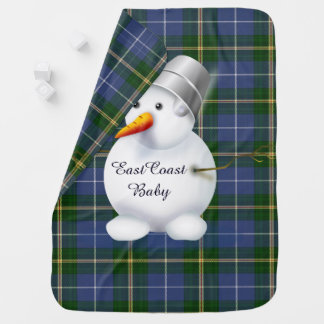 Manta De Bebe Tartan de Nova Escócia do boneco de neve do Natal