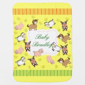 Manta De Bebe Tema lunático bonito dos animais de fazenda
