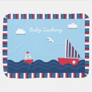 Manta De Bebe Tema náutico elegante do barco de vela, para bebês