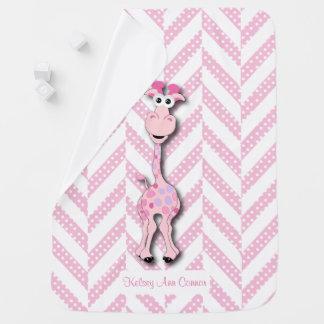 Manta De Bebe Teste padrão cor-de-rosa do design do girafa do