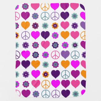Manta De Bebe Teste padrão da paz do coração de flower power +