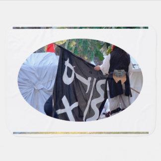 Manta De Bebe tomada abaixo da imagem do poster da bandeira de
