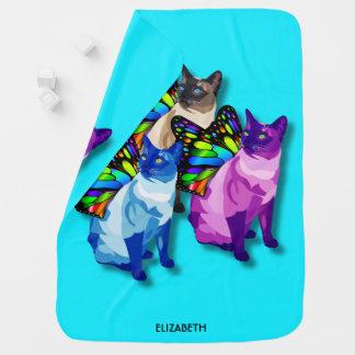 Manta De Bebe Três gatos psicadélicos com asas da borboleta