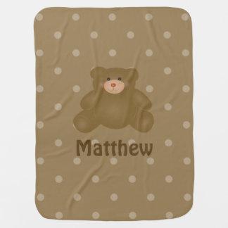 Manta De Bebe Urso e bolinhas de ursinho peluches bonito do bebê