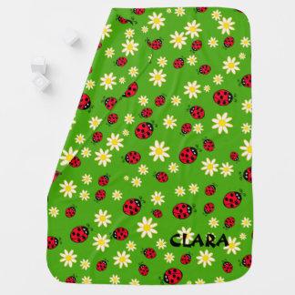 Manta De Bebe verde bonito do teste padrão de flor do joaninha e