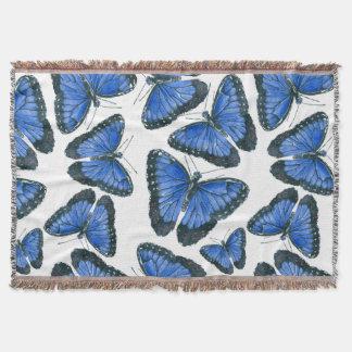 Manta Design azul do teste padrão de borboleta do morpho