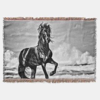 Manta Equestrian ocidental do grande cavalo preto e