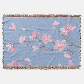 Manta Flor de cerejeira - azul da serenidade