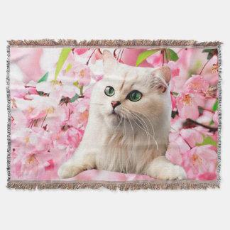 Manta Gato e flores