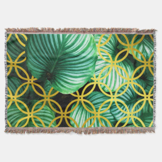 Manta Ilustração moderna tropical geométrica das folhas