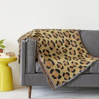 Manta Impressão morno do leopardo de Brown e de ouro