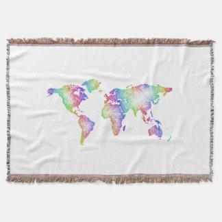 Manta Mapa do mundo do arco-íris