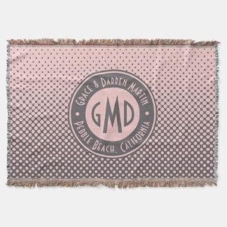 Manta Na moda cinzento cor-de-rosa milenar do monograma