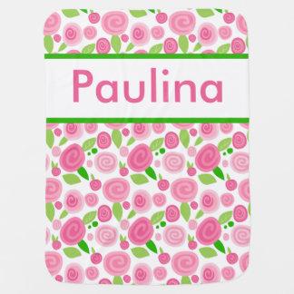 Manta Para Bebe A cobertura cor-de-rosa personalizada de Paulina