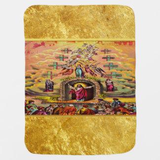 Manta Para Bebe A porta do céu com uma textura e um Jesus da folha