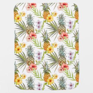 Manta Para Bebe Abacaxi tropical das folhas das flores da aguarela