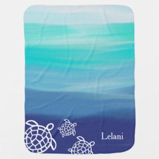 Manta Para Bebe Águas personalizadas do oceano das tartarugas de