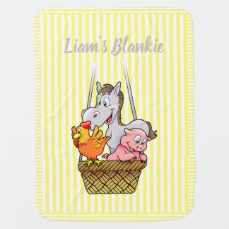 Manta Para Bebe Animais de fazenda listrados amarelos e brancos