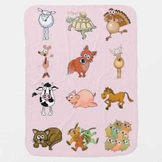 Manta Para Bebe Animais dos desenhos animados em uma luz - fundo