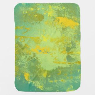 Manta Para Bebe Arte abstracta verde e amarela