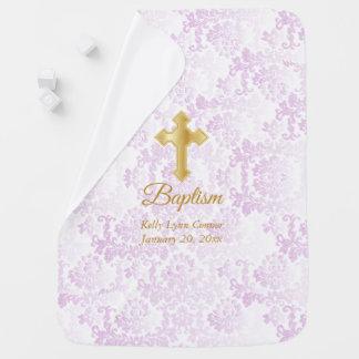 Manta Para Bebe Baptismo cor-de-rosa bonito do damasco