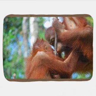 Manta Para Bebe Beijos do animal do orangotango