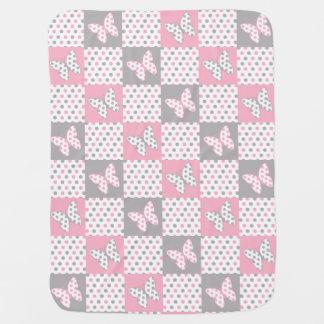 Manta Para Bebe Berçário cinzento cinzento cor-de-rosa da menina