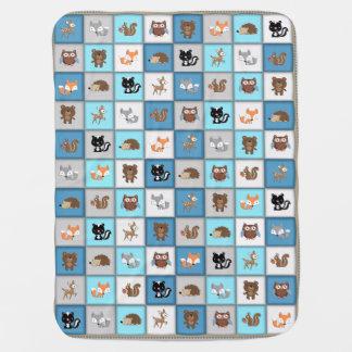 Manta Para Bebe *Blue de Quiltlike dos animais do bebê dos