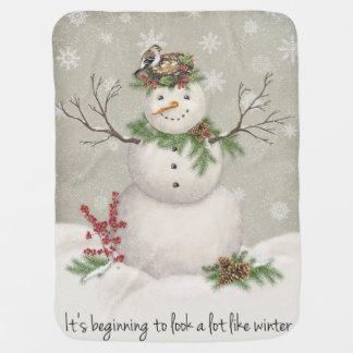 Manta Para Bebe boneco de neve moderno do wintergarden do vintage