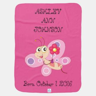 Manta Para Bebe Borboleta colorida adorável bonito personalizada
