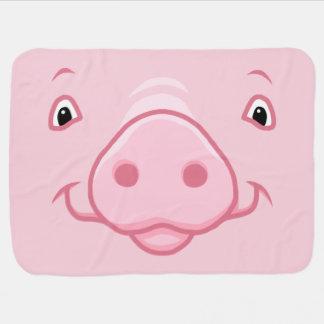 Manta Para Bebe Cara cor-de-rosa feliz bonito do porco