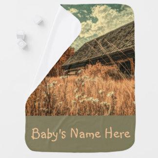 Manta Para Bebe celeiro velho da fazenda do wildflower do campo do