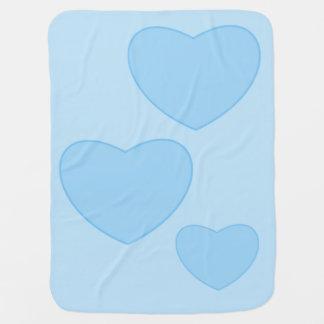 Manta Para Bebe Cobertura azul do bebê dos corações