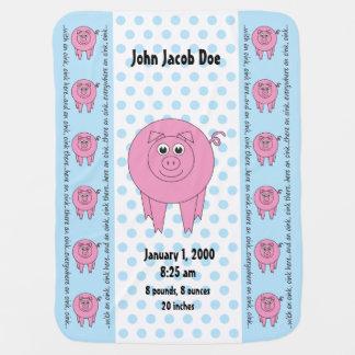 Manta Para Bebe Cobertura azul personalizada do porco (frente e