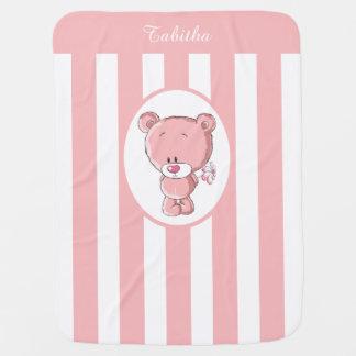 Manta Para Bebe Cobertura cor-de-rosa do bebê do urso