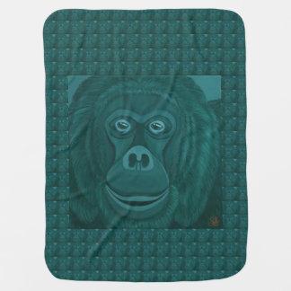Manta Para Bebe Cobertura do bebê do orangotango de Forest Green