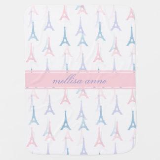 Manta Para Bebe Cobertura personalizada rosa do bebê da torre