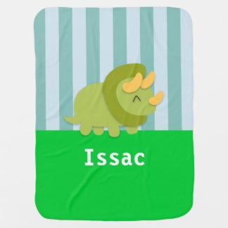 Manta Para Bebe Cobertura verde bonito do bebé do triceratops