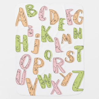 Manta Para Bebe Cobertura verde do alfabeto e alaranjada