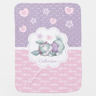 Manta Para Bebe Coelho adorável do sono no rosa pastel e no roxo