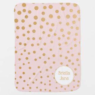 Manta Para Bebe Cora a cobertura cor-de-rosa do ponto do ouro com