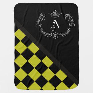 Manta Para Bebe Coroa amarela personalizada Flrish do tabuleiro de