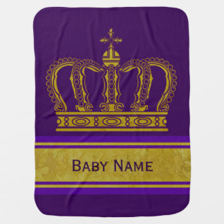 Manta Para Bebe Coroa dourada + seu Backgr. & nome do bebê