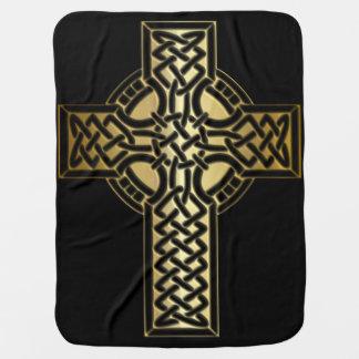 Manta Para Bebe Cruz celta do nó no ouro e no preto